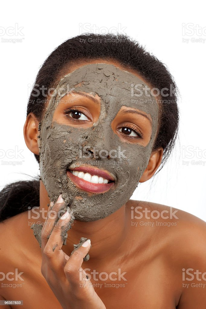 Face covered by Dead Sea mud mask stock photo