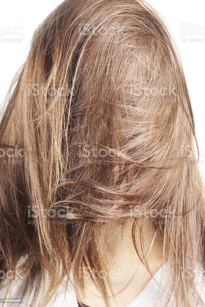 face covered by hair in motion royalty-free stock photo