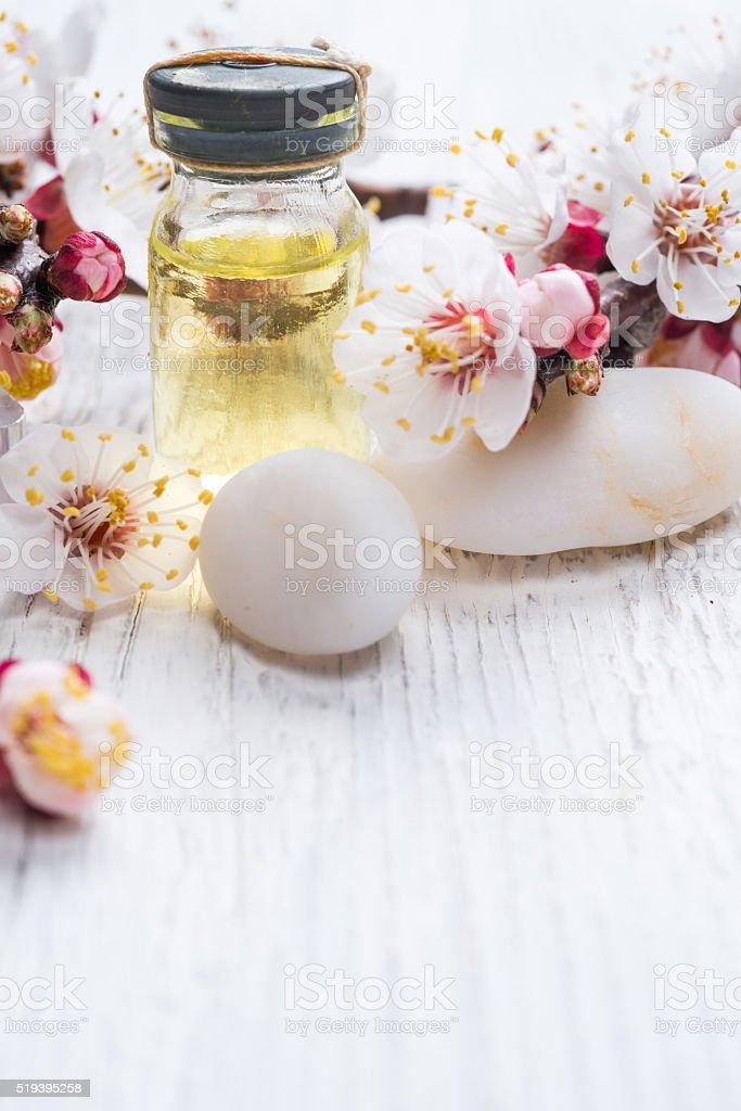 Face crea, fragnat oil and decorative stone with blossom stock photo