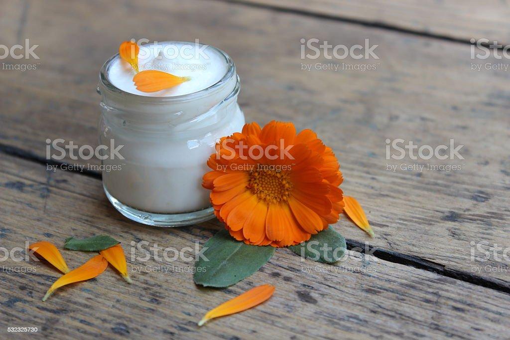 Face cream and calendula flower.Cosmetics. stock photo