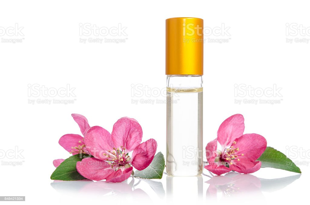 Face cream bottle whith flowers isolated on white stock photo