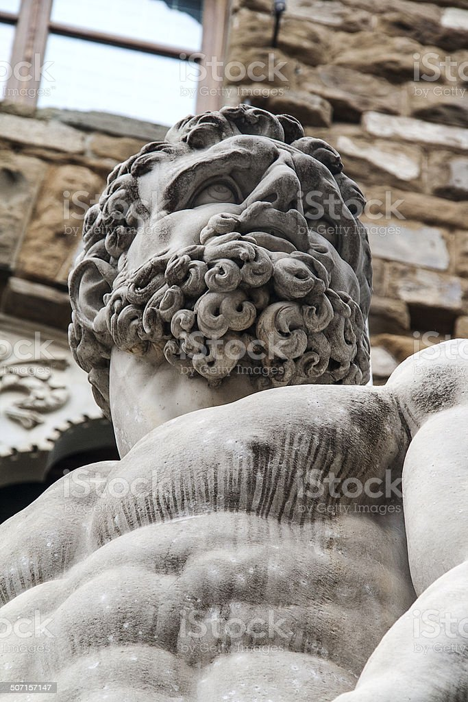 Face detail of Statue of Hercules and Cacus in Florence stock photo