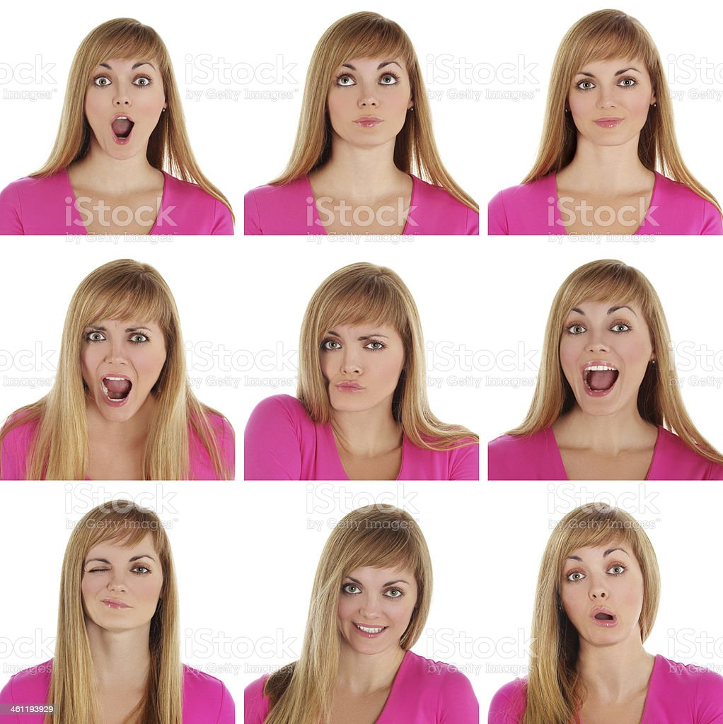 Face expressions of  young woman stock photo