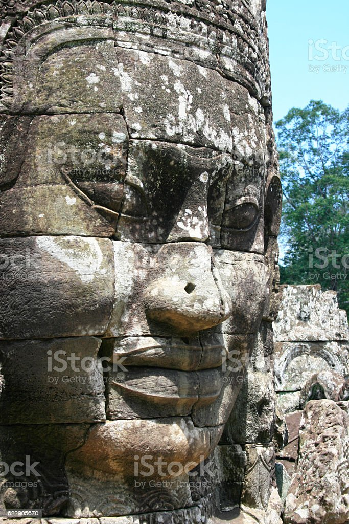 Face from the Bayon stock photo