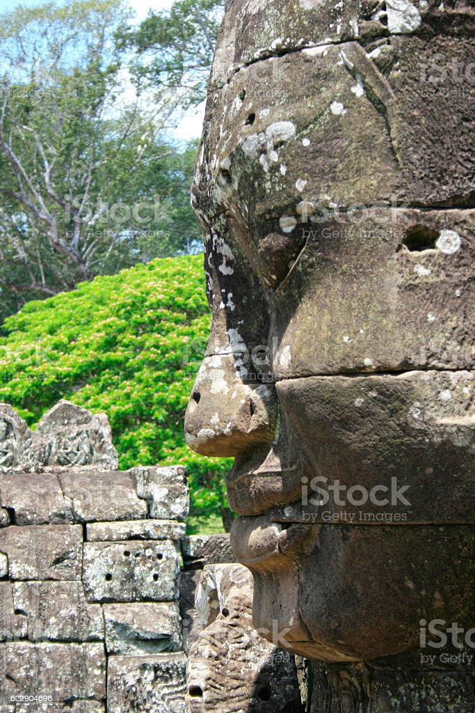 Face from the Prasat Bayon stock photo