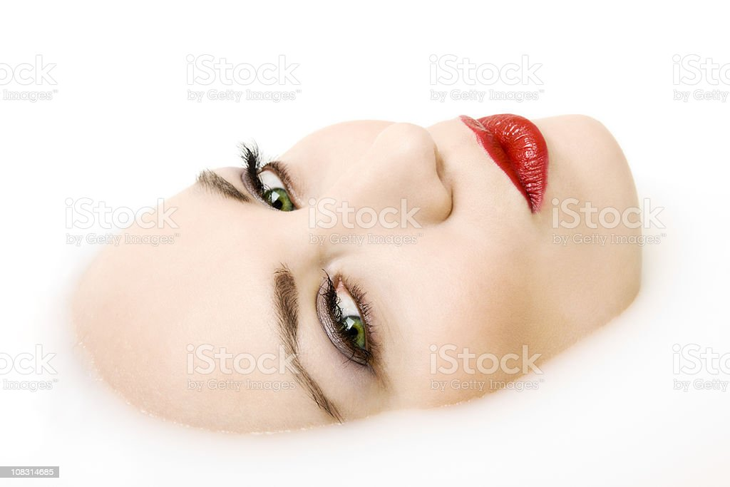Face in Milk royalty-free stock photo