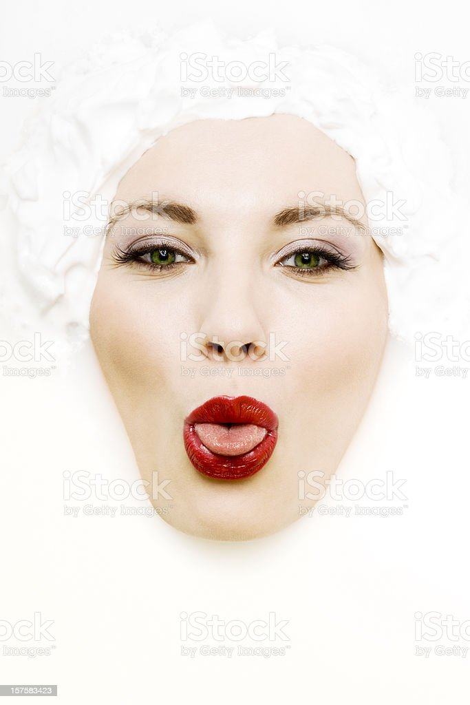Face in Milk stock photo