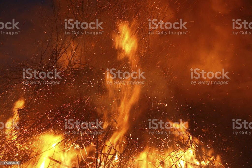 face in the fire stock photo