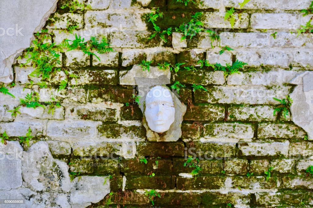 Face in Wall stock photo