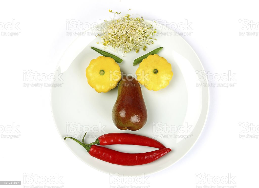 Face Made of Fruit and Vegetables royalty-free stock photo