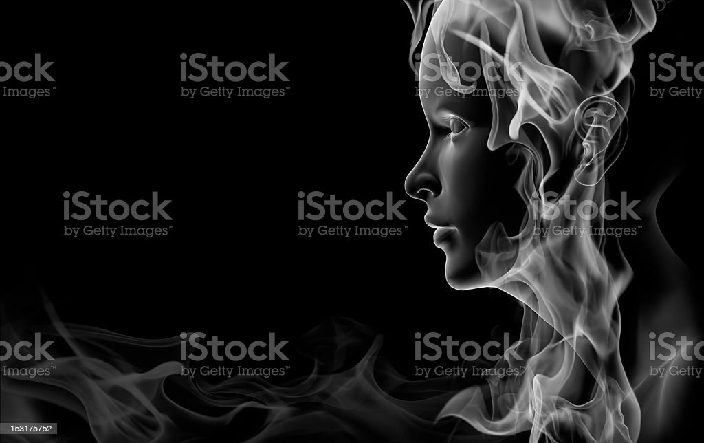 Face made of smoke stock photo