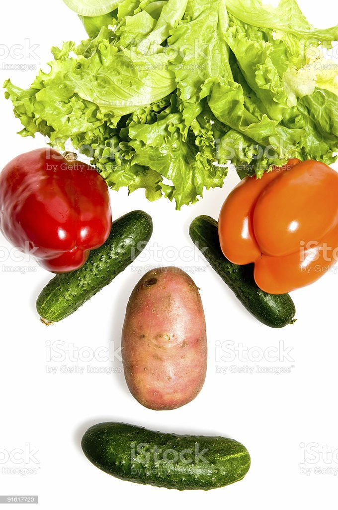 Face made out of different vegetables royalty-free stock photo