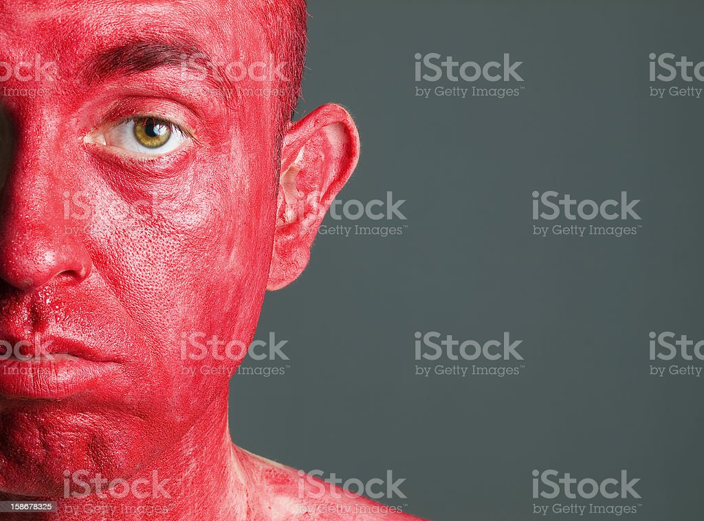 Face man makeup red royalty-free stock photo