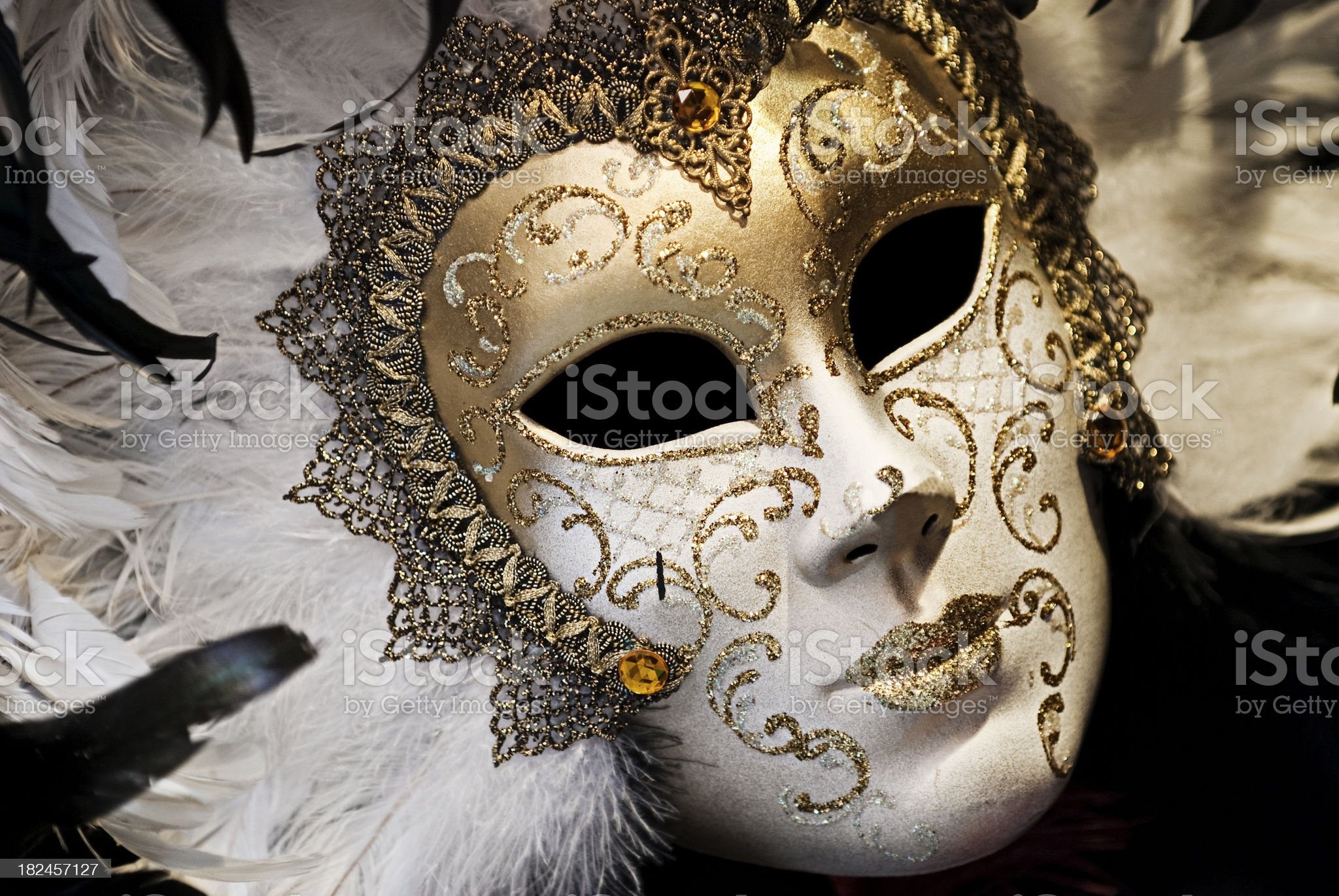 Face Mask with Feathers,Carnival in Venice, royalty-free stock photo