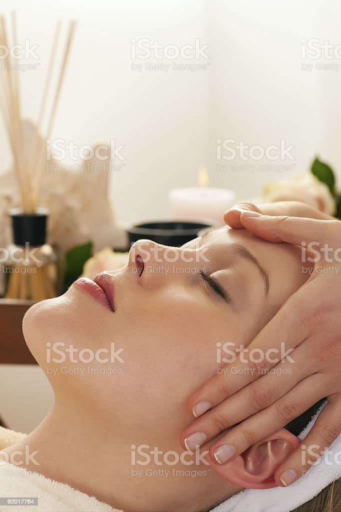 Face Massage with Spa background royalty-free stock photo
