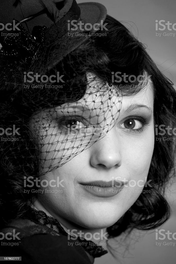 Face of a beautiful retro styled woman royalty-free stock photo