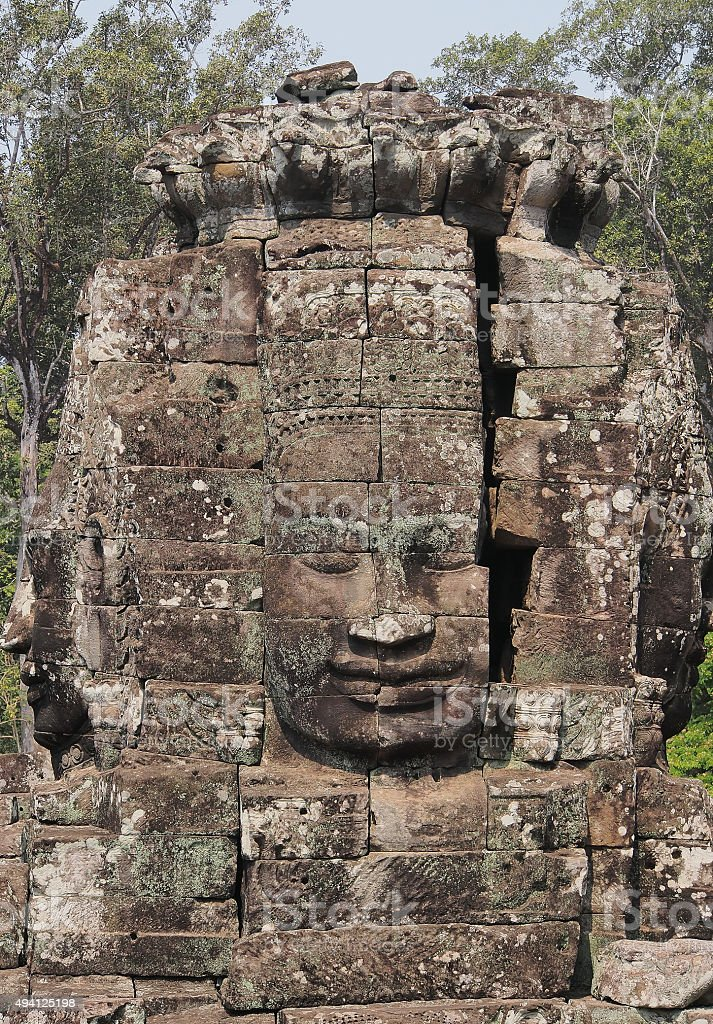 Face of ancient Bayon Temple in Angkor Wat, Cambodia stock photo
