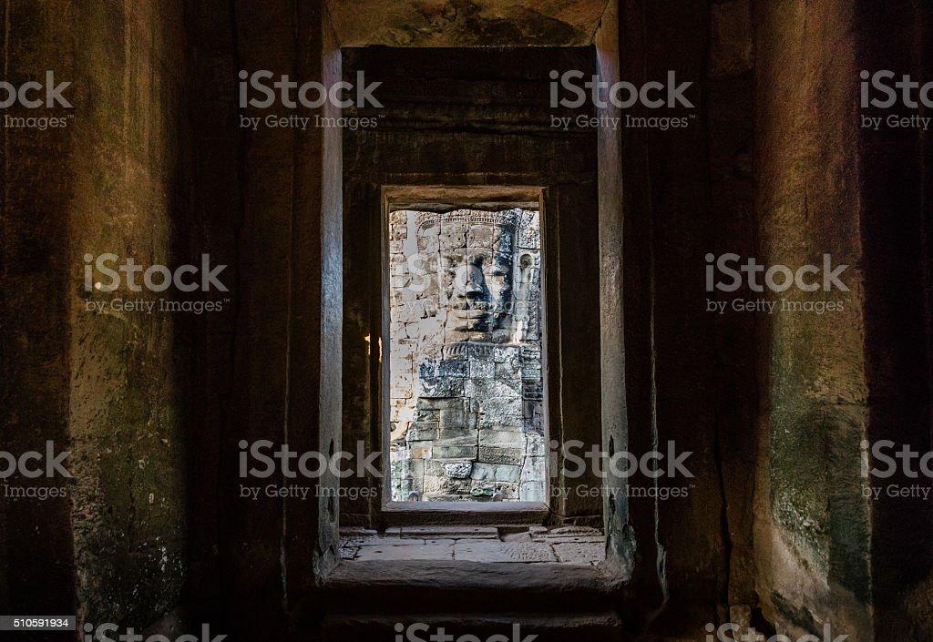 Face of Bayon Angkor Thom Cambodia stock photo