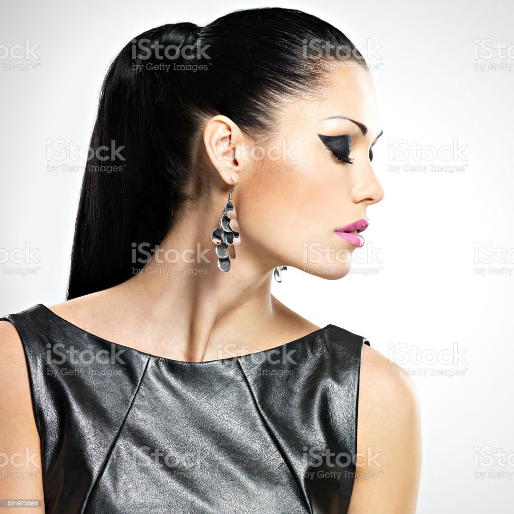Face of beautiful woman with glamour fashion makeup stock photo