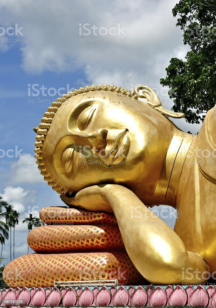 Face of Golden Buddha statue royalty-free stock photo