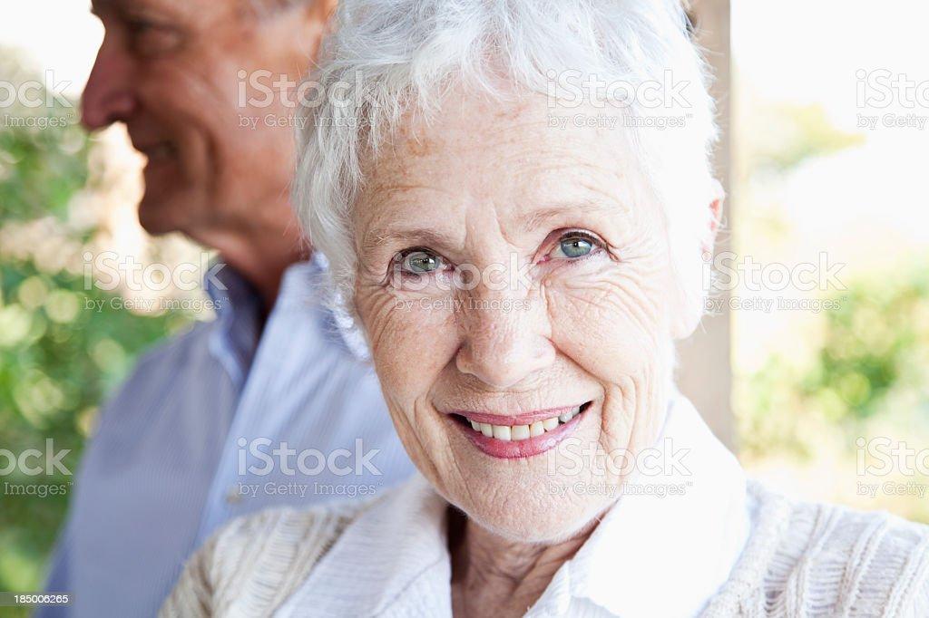 Face of happy senior woman stock photo