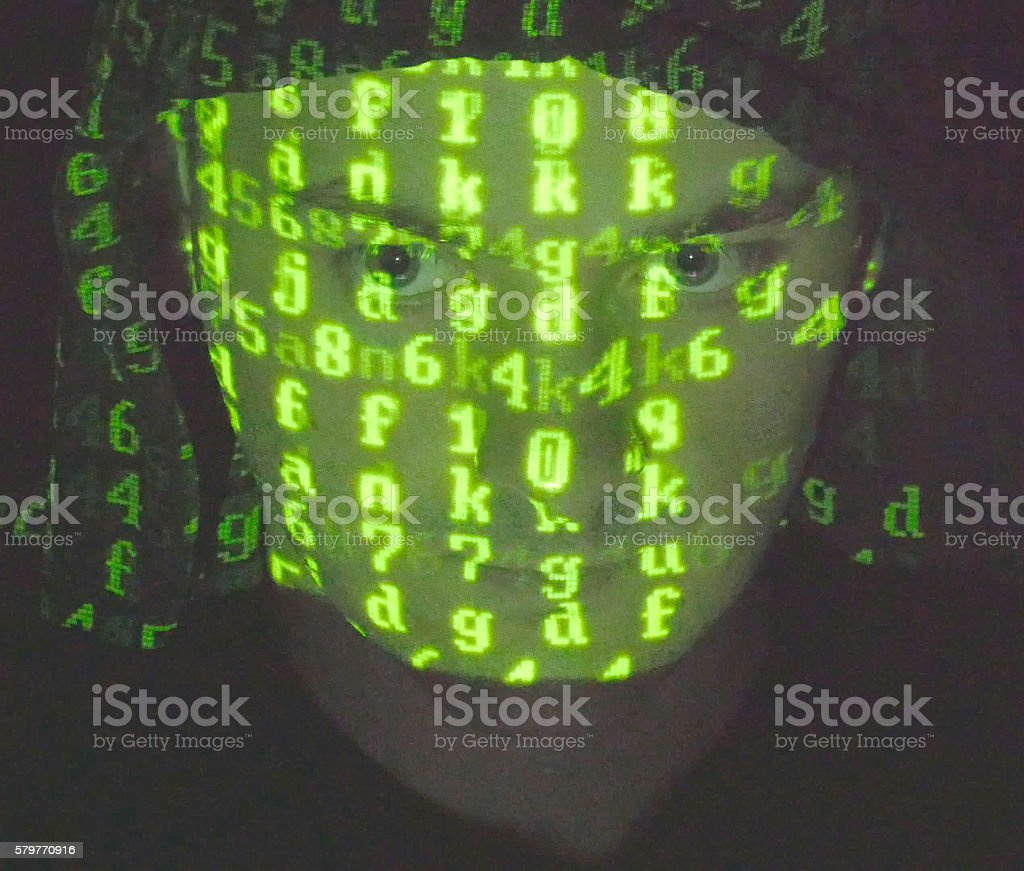 Face of male hacker in hood foto de stock libre de derechos