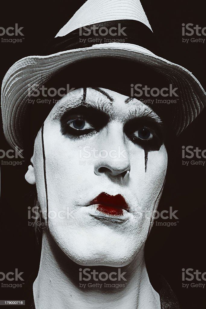 face  of mime with dark make-up royalty-free stock photo