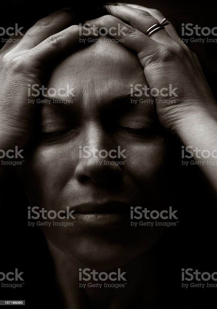face of pain stock photo
