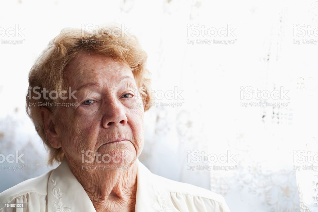 Face of senior woman stock photo