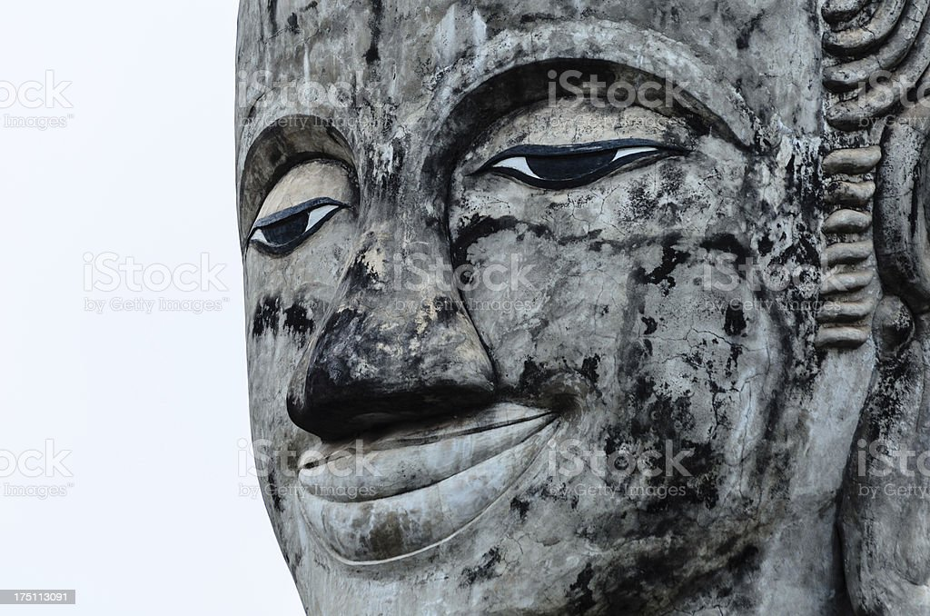 Face of Smile Old Buddha stock photo