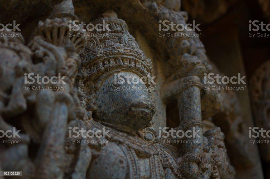 Face of the deity sculpture (Varaha) in the Chennakesava temple at Somanathapura,Karnataka, India, Asia stock photo