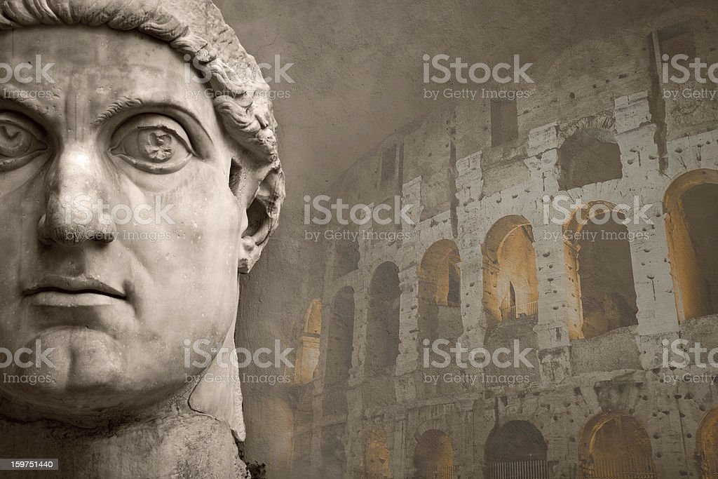 Face of the Emperor Constantine and Coliseum stock photo