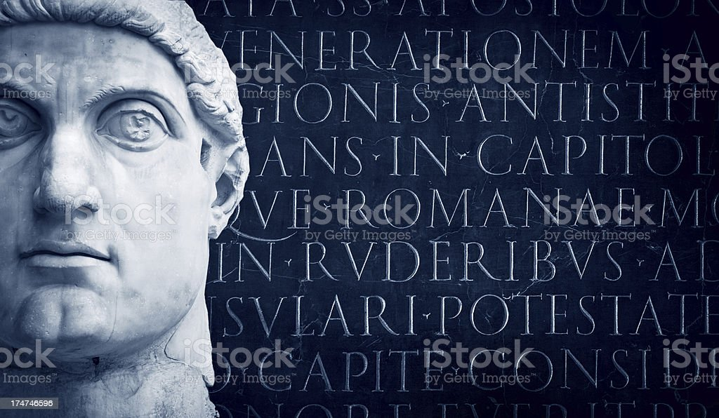 Face of the Emperor Constantine and latin script stock photo