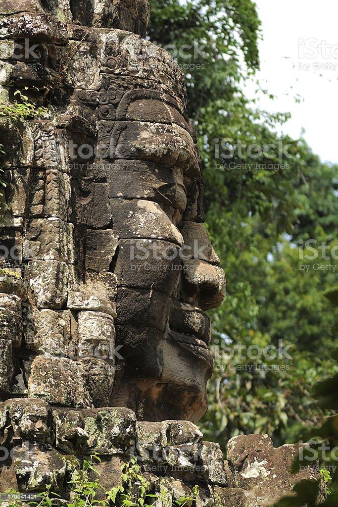 Face of The king at Angkor Wat, Cambodia royalty-free stock photo
