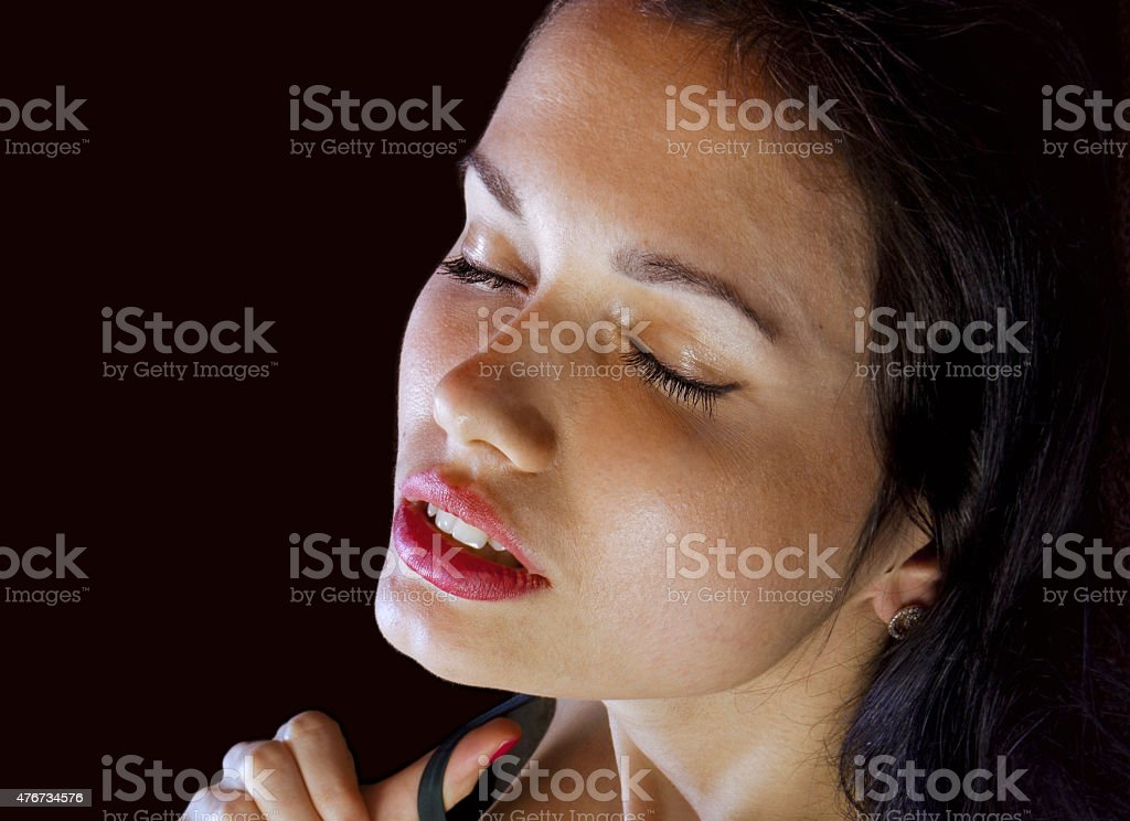 face of voluptuous girl stock photo