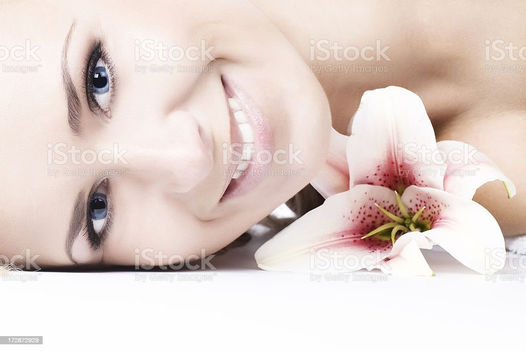 Face of woman with flower royalty-free stock photo