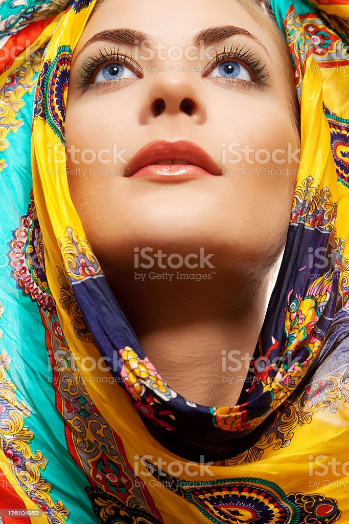 face of woman with headscarf royalty-free stock photo