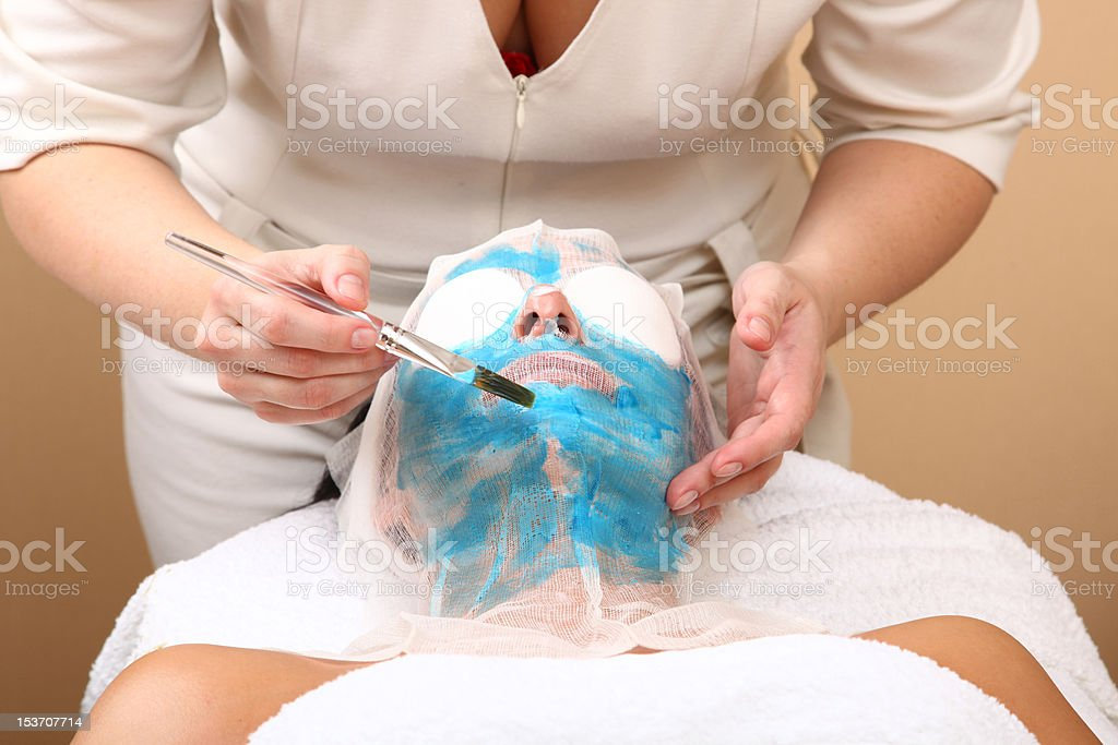 face of women getting a spa treatment royalty-free stock photo
