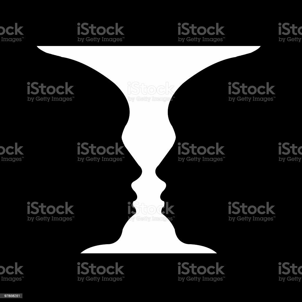 face or cup stock photo