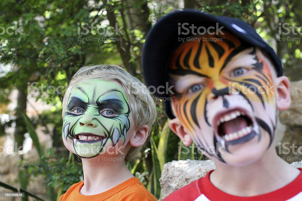 Face Painted Boys royalty-free stock photo
