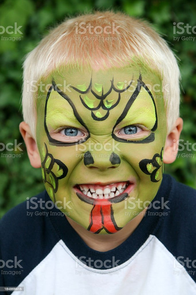 Face painted child stock photo