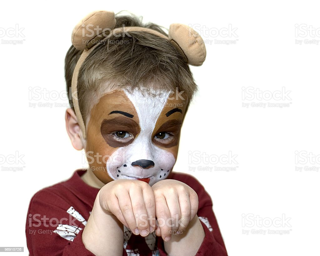 Face painted five year old royalty-free stock photo