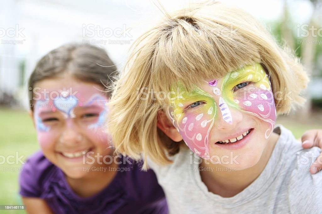 Face paited kids stock photo