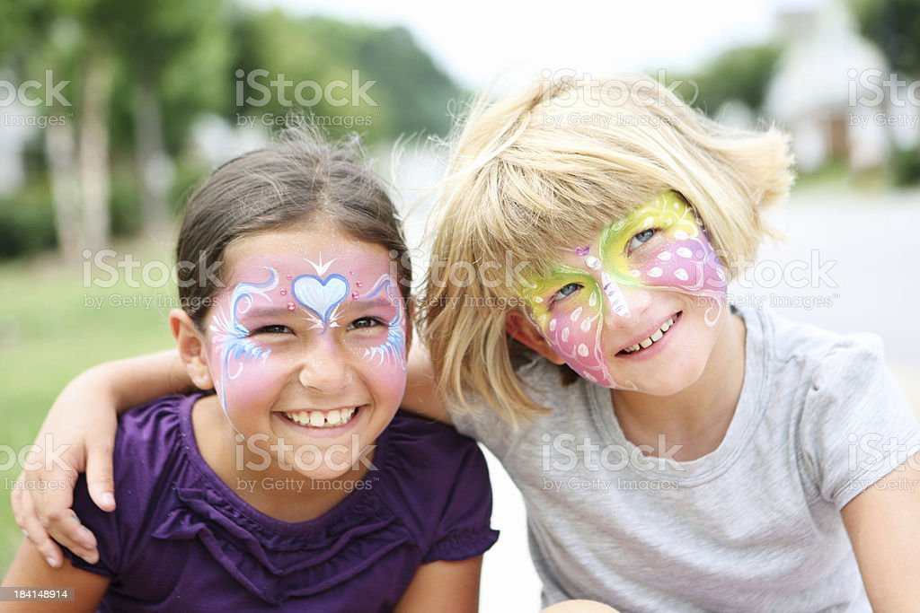 Face paited kids stock photo