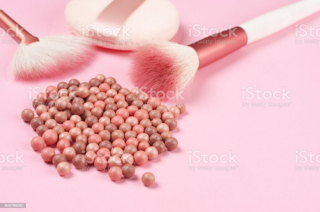 Face pearls blush and accessories stock photo