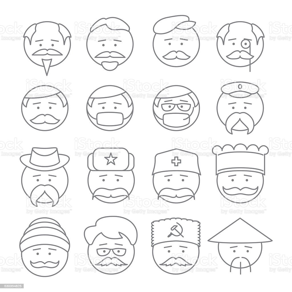 face people icons vector outline stock photo