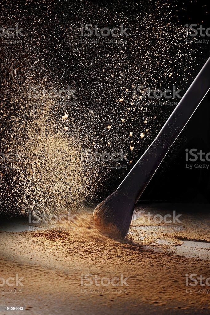 Face powder and professional make up brush stock photo