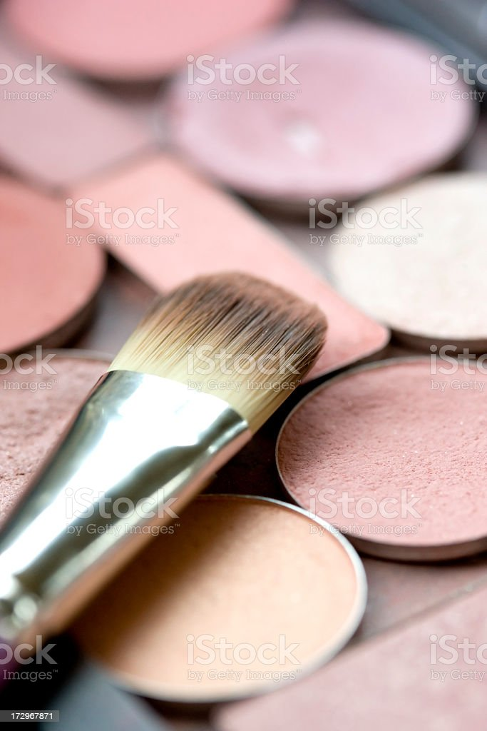 Face powder Cosmetics with Brush royalty-free stock photo