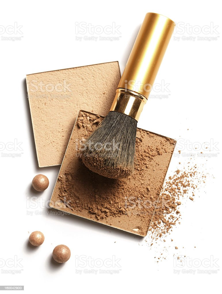 Face powder on a brown brush for women stock photo