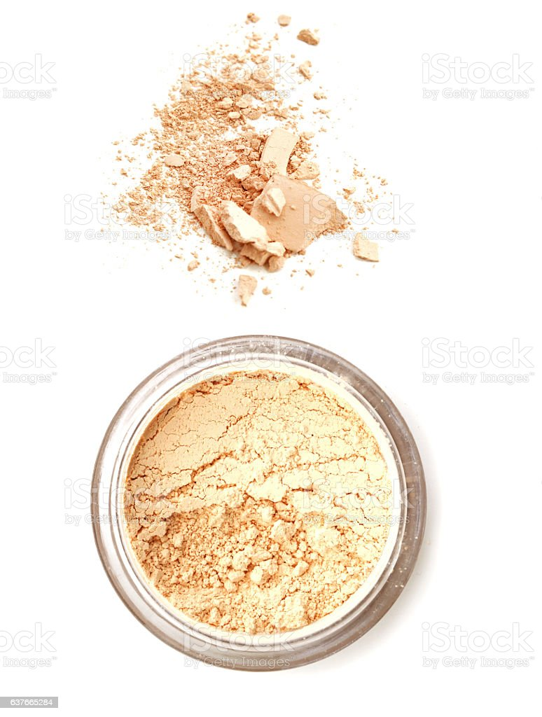 Face powder on white background stock photo